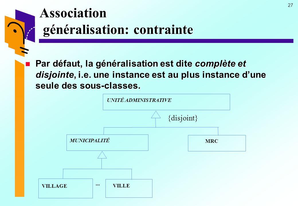 Association généralisation: contrainte