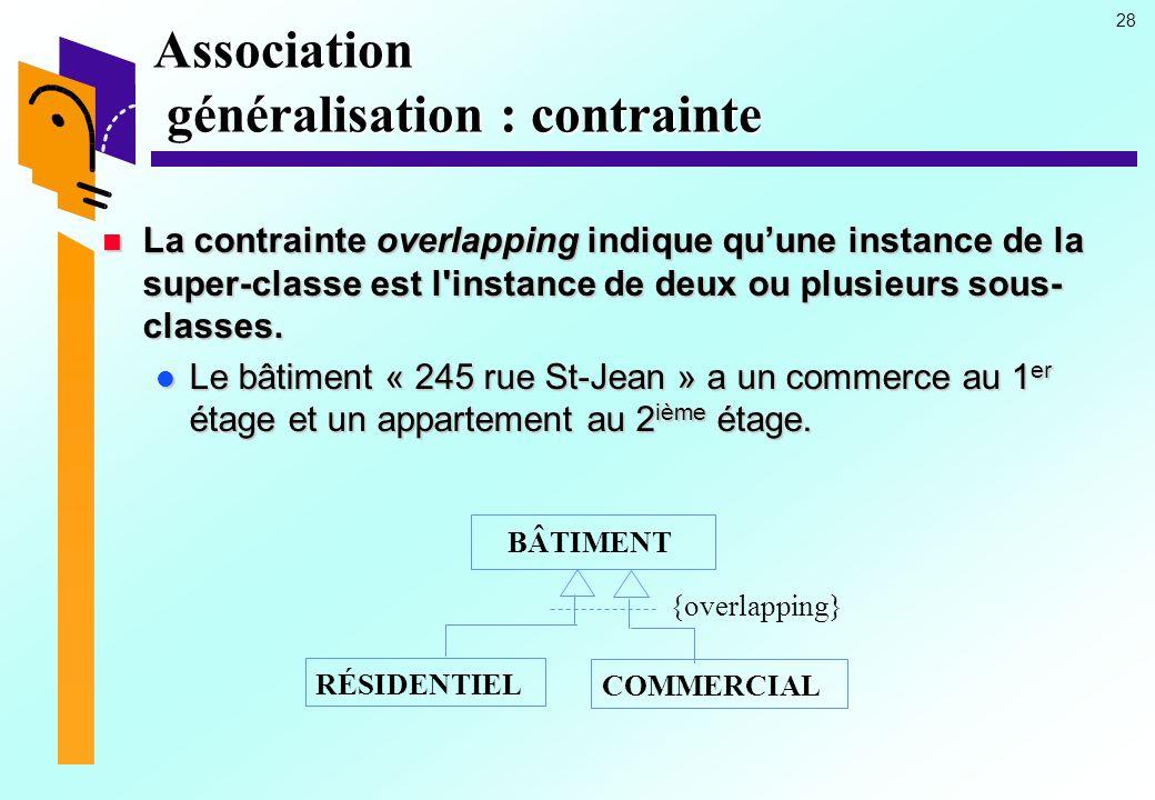 Association généralisation : contrainte