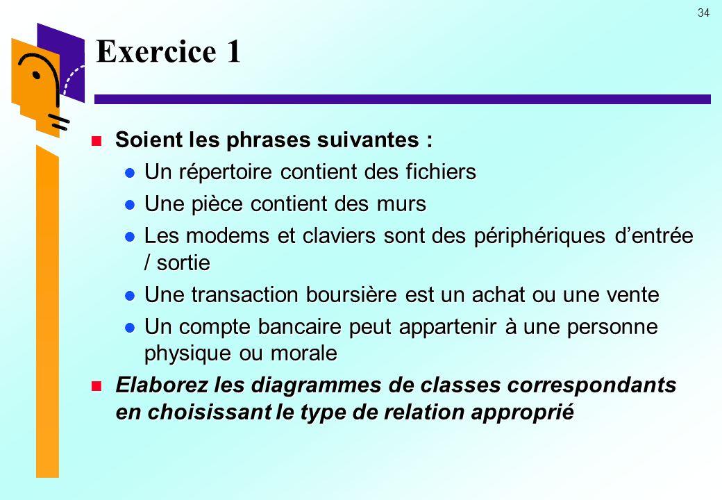Exercice 1 Soient les phrases suivantes :