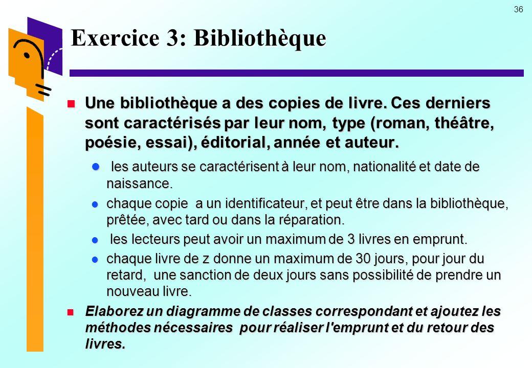 Exercice 3: Bibliothèque