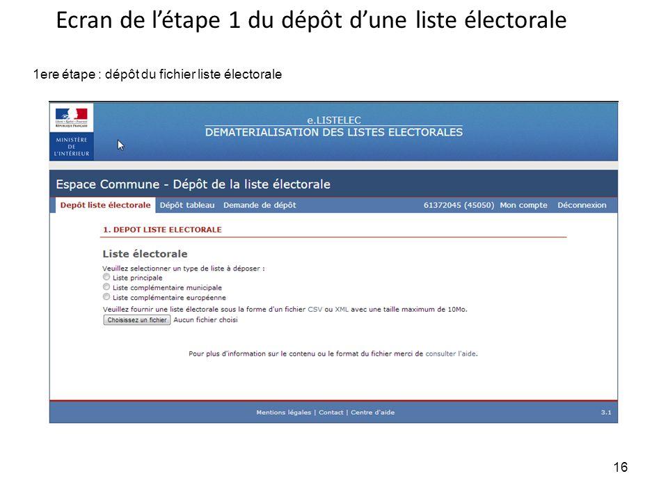 Ecran de l'étape 1 du dépôt d'une liste électorale