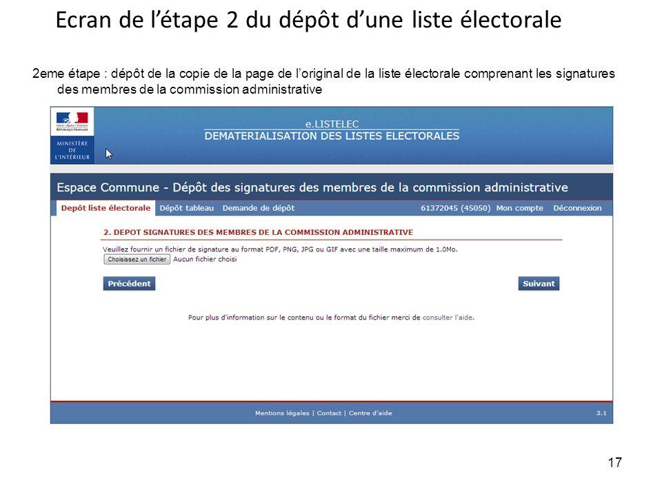 Ecran de l'étape 2 du dépôt d'une liste électorale