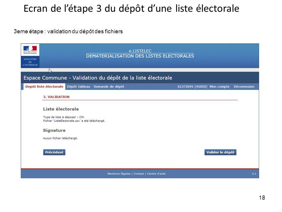 Ecran de l'étape 3 du dépôt d'une liste électorale