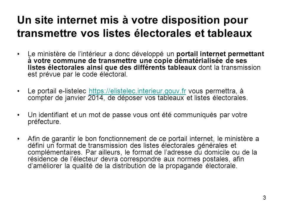 Un site internet mis à votre disposition pour transmettre vos listes électorales et tableaux