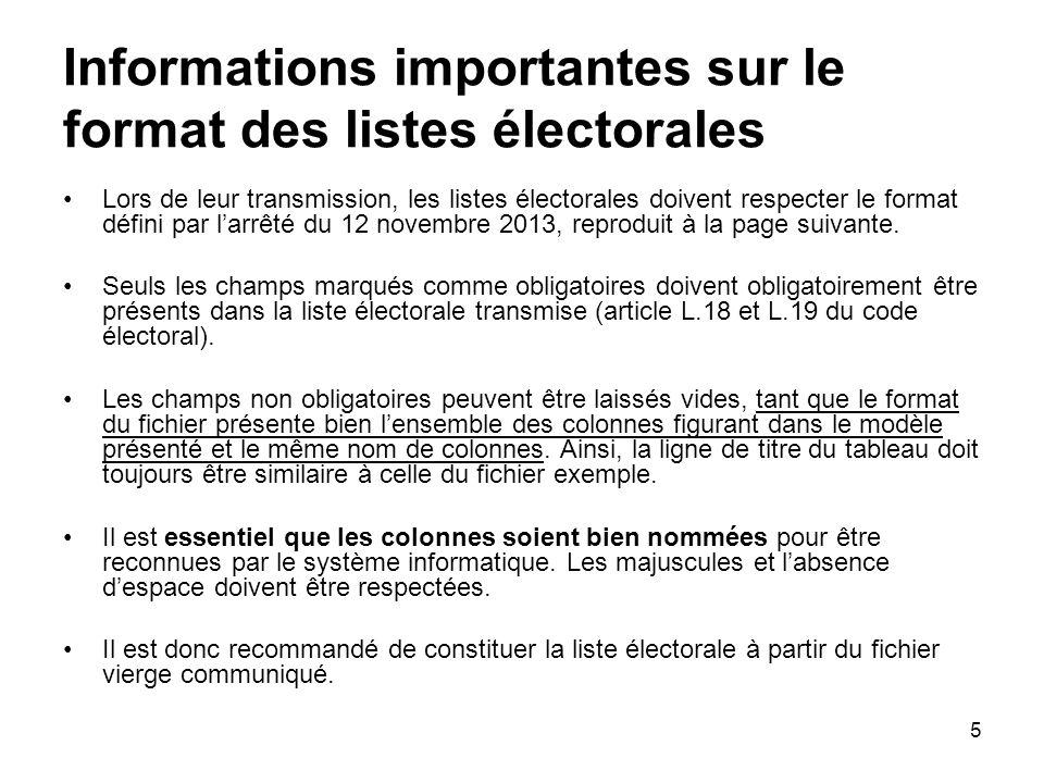 Informations importantes sur le format des listes électorales