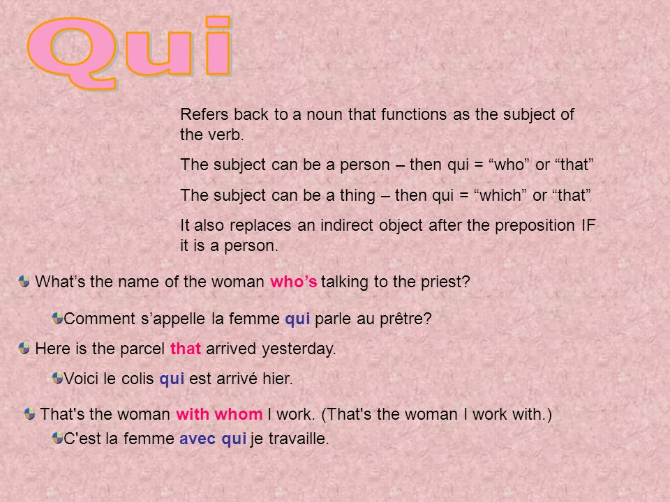 Qui Refers back to a noun that functions as the subject of the verb.