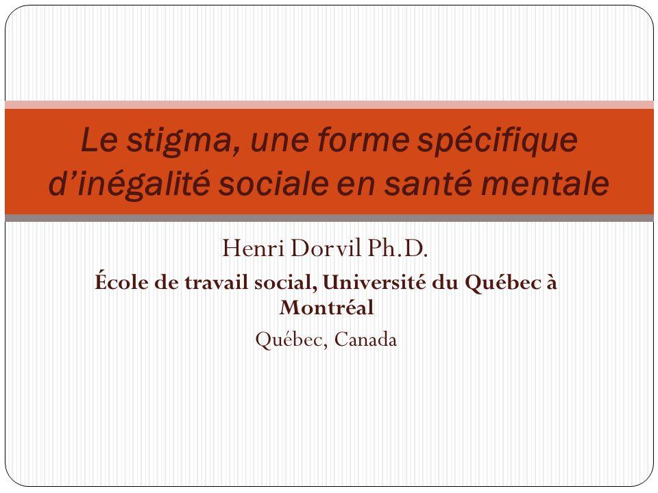 Le stigma, une forme spécifique d'inégalité sociale en santé mentale