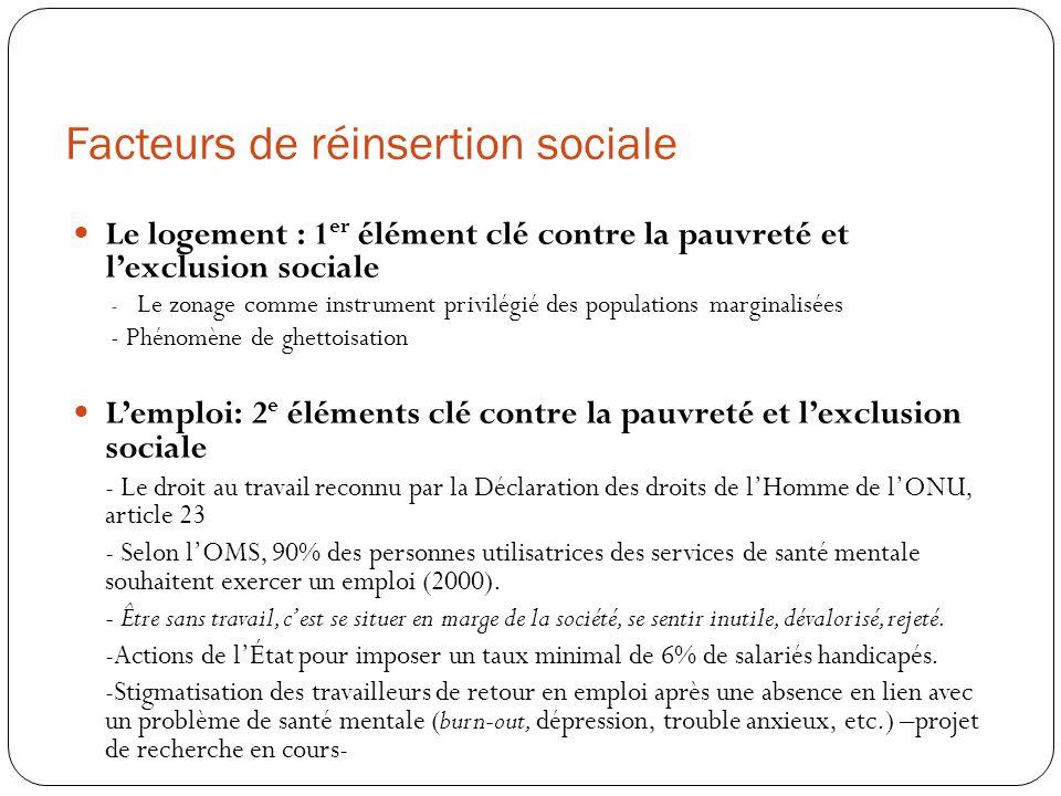 Facteurs de réinsertion sociale