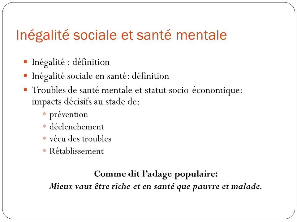 Inégalité sociale et santé mentale