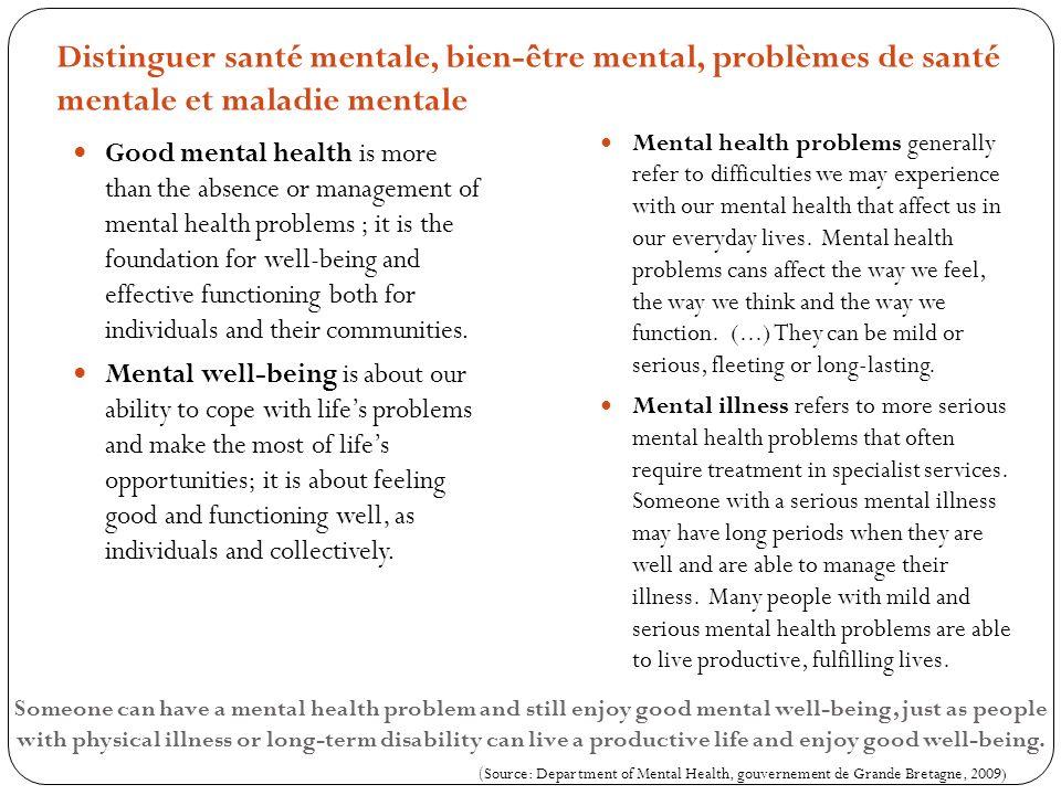 Distinguer santé mentale, bien-être mental, problèmes de santé mentale et maladie mentale