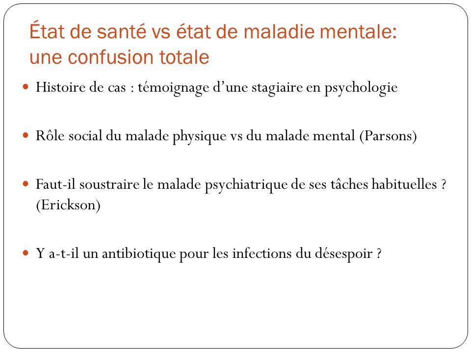 État de santé vs état de maladie mentale: une confusion totale