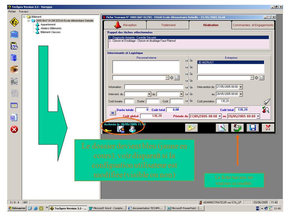 Le dossier devient bleu (jaune en cours), voir disparaît si la configuation utilisateur est modifiée (visible ou non)
