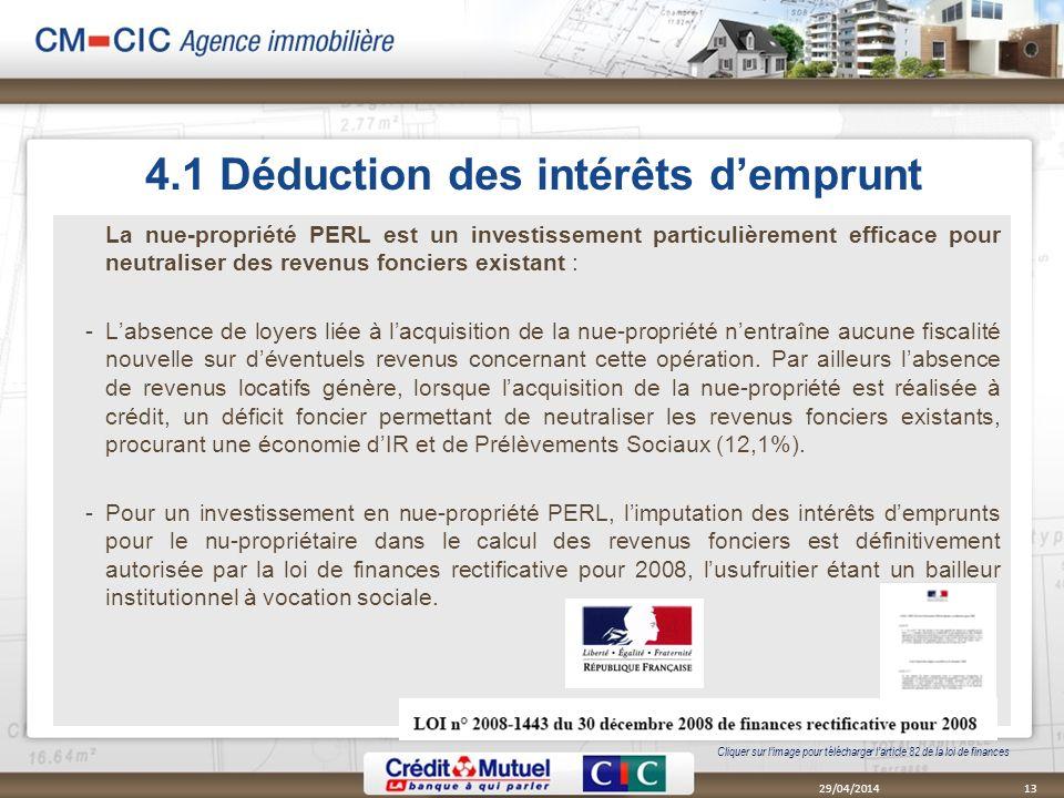 4.1 Déduction des intérêts d'emprunt