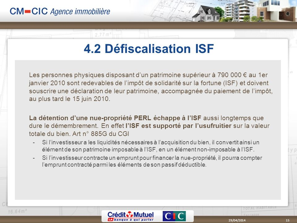 4.2 Défiscalisation ISF