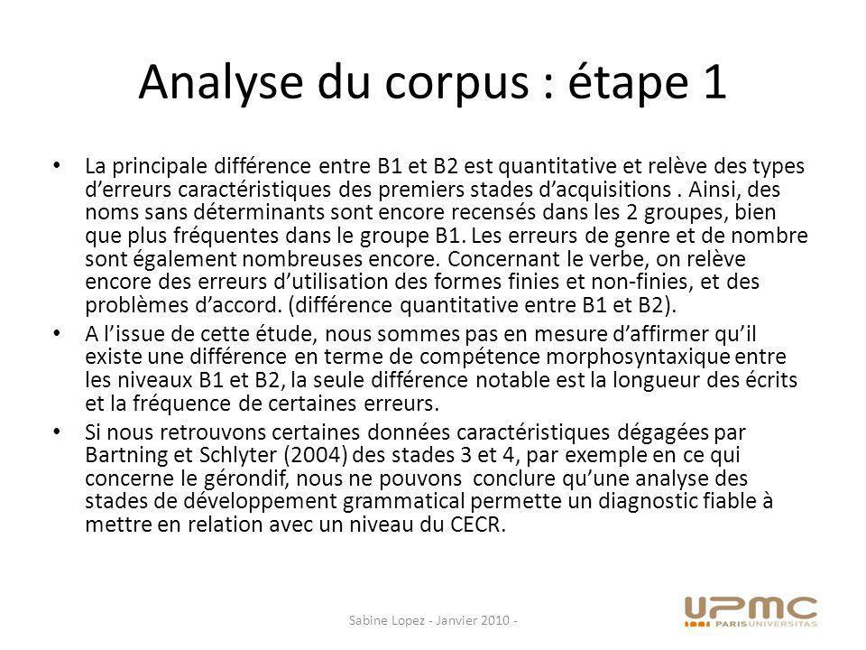 Analyse du corpus : étape 1