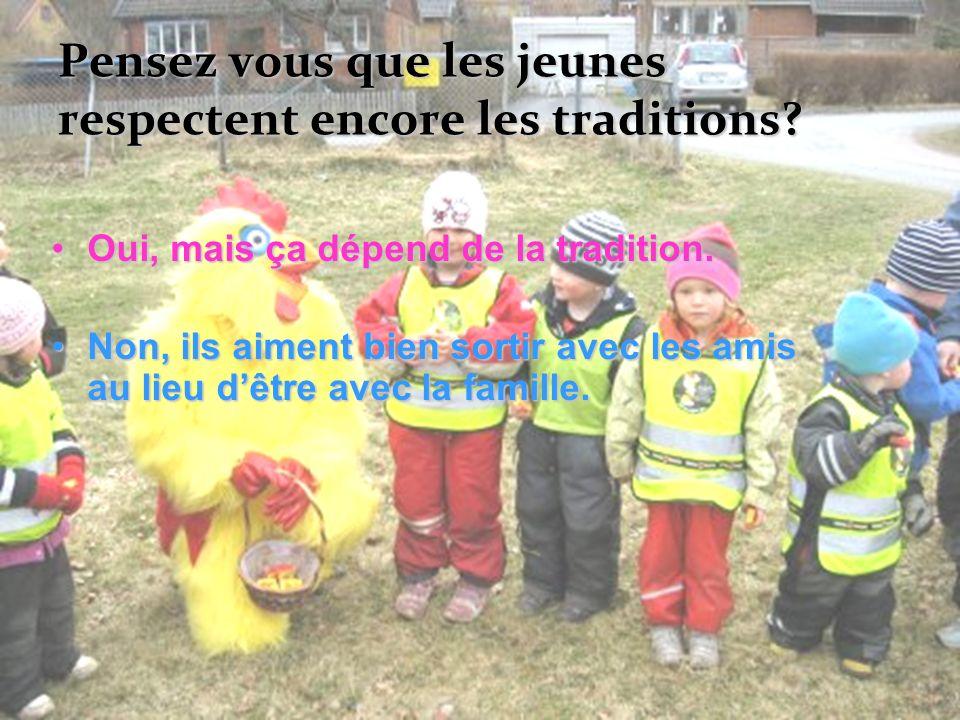 Pensez vous que les jeunes respectent encore les traditions