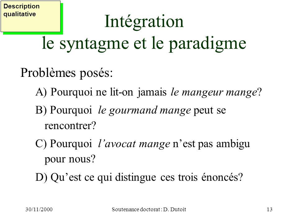 Intégration le syntagme et le paradigme