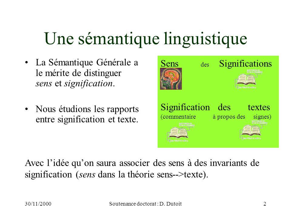 Une sémantique linguistique
