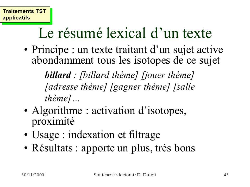 Le résumé lexical d'un texte