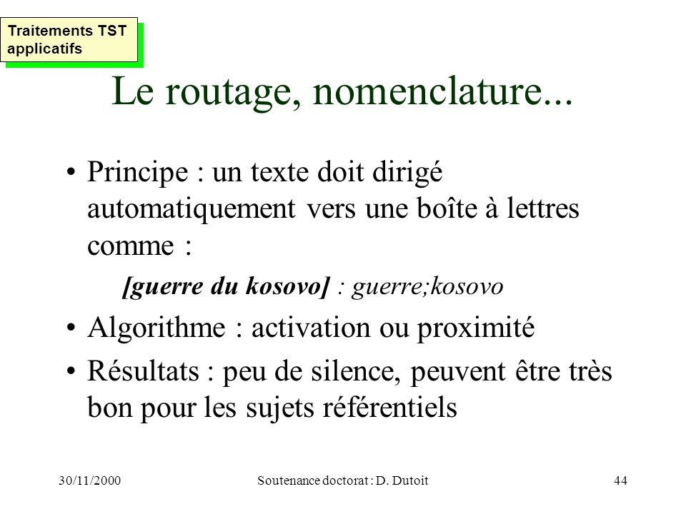 Le routage, nomenclature...