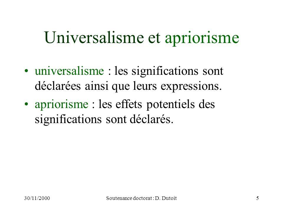 Universalisme et apriorisme