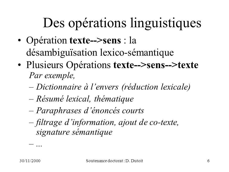 Des opérations linguistiques