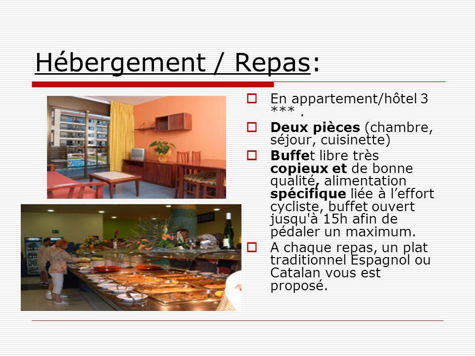 Hébergement / Repas: En appartement/hôtel 3 *** .