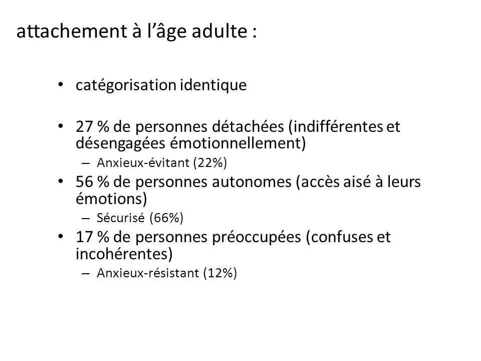 attachement à l'âge adulte :