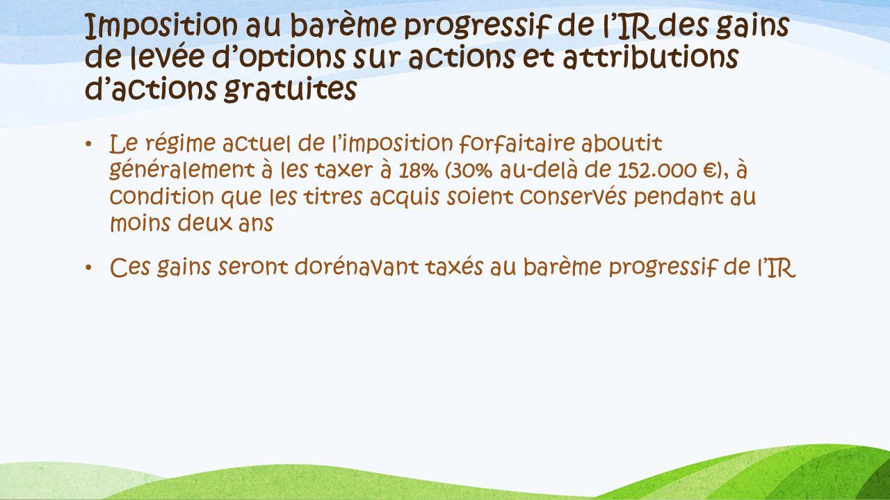 Imposition au barème progressif de l'IR des gains de levée d'options sur actions et attributions d'actions gratuites
