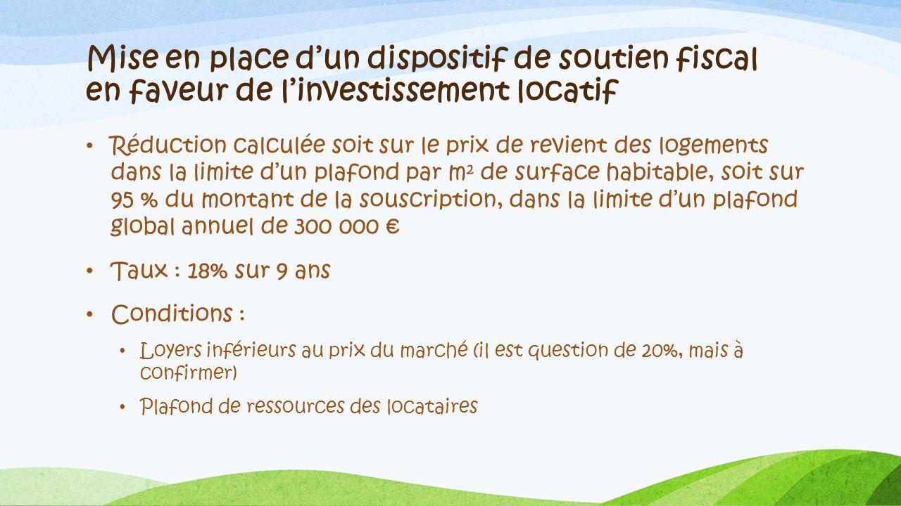 Mise en place d'un dispositif de soutien fiscal en faveur de l'investissement locatif
