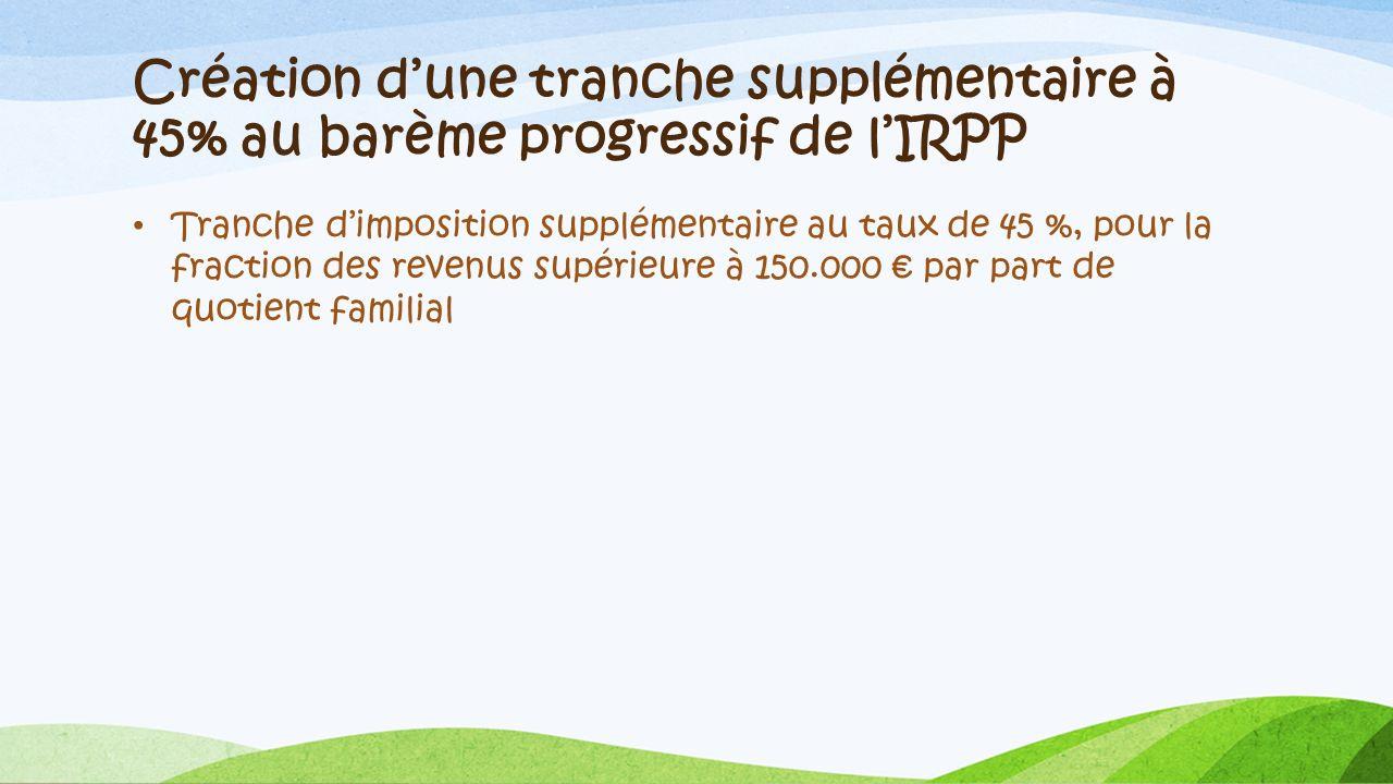 Création d'une tranche supplémentaire à 45% au barème progressif de l'IRPP