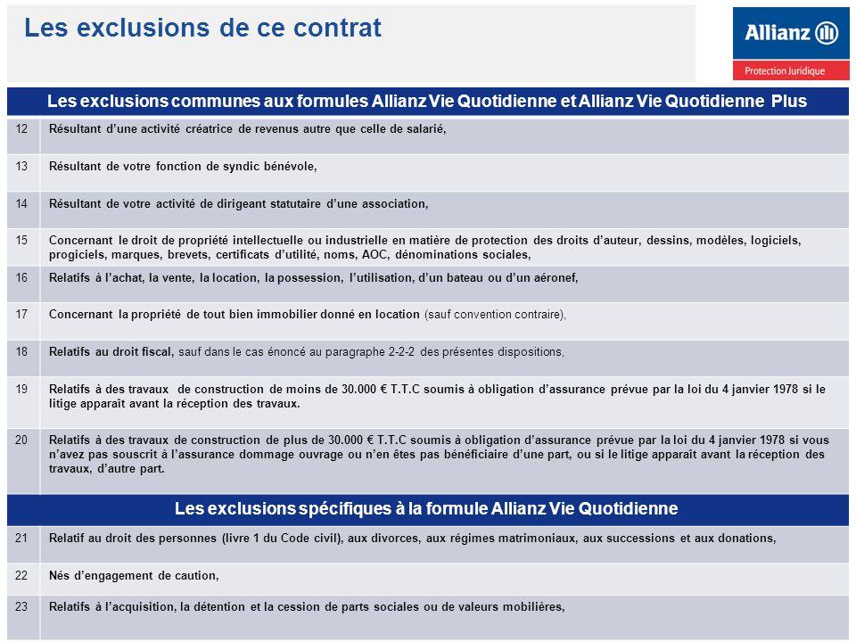 Les exclusions spécifiques à la formule Allianz Vie Quotidienne