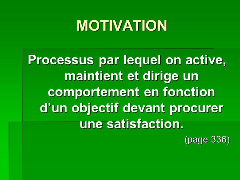 MOTIVATION Processus par lequel on active, maintient et dirige un comportement en fonction d'un objectif devant procurer une satisfaction.