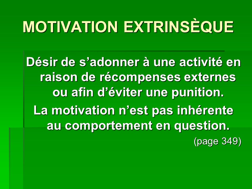 MOTIVATION EXTRINSÈQUE