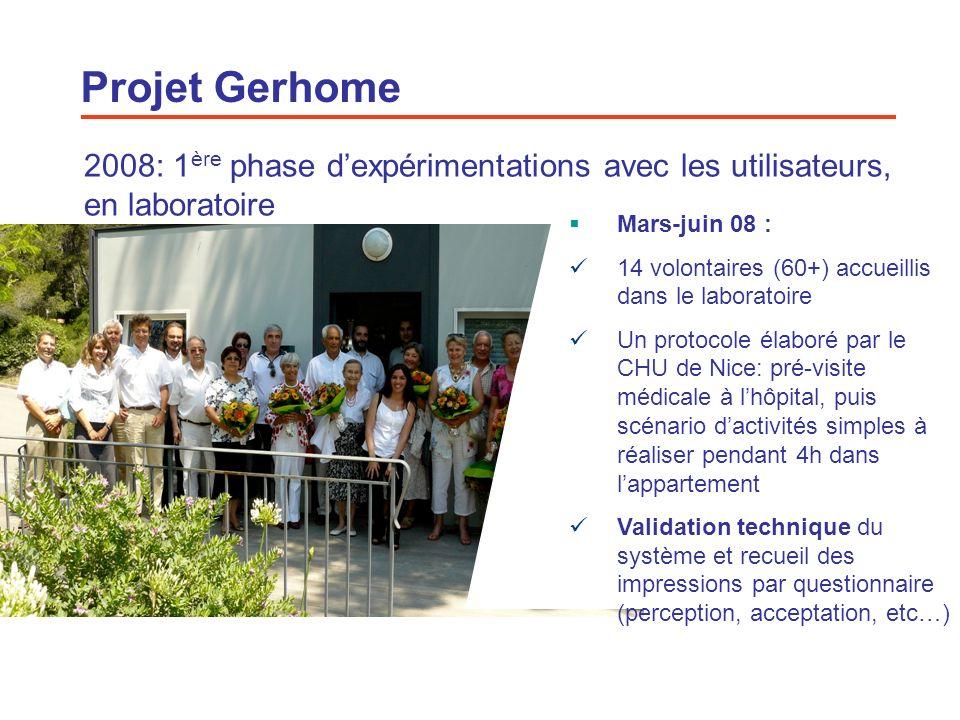 Projet Gerhome 2008: 1ère phase d'expérimentations avec les utilisateurs, en laboratoire. Mars-juin 08 :