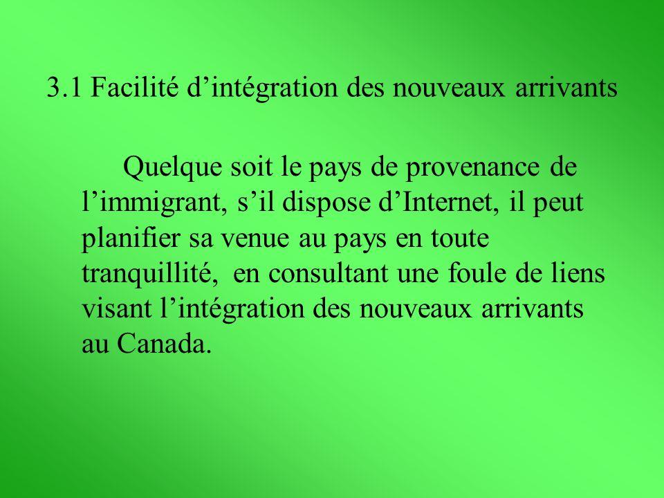 3.1 Facilité d'intégration des nouveaux arrivants