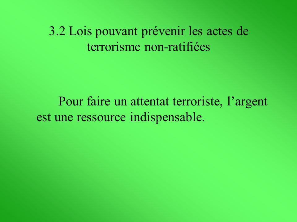 3.2 Lois pouvant prévenir les actes de terrorisme non-ratifiées