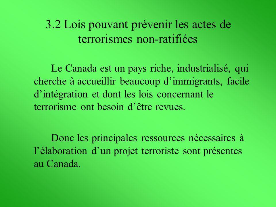 3.2 Lois pouvant prévenir les actes de terrorismes non-ratifiées