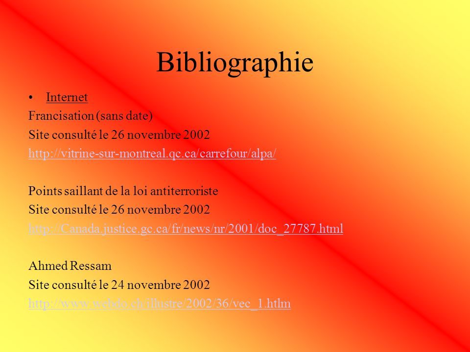 Bibliographie Internet Francisation (sans date)