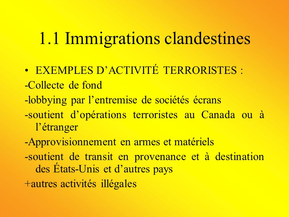 1.1 Immigrations clandestines