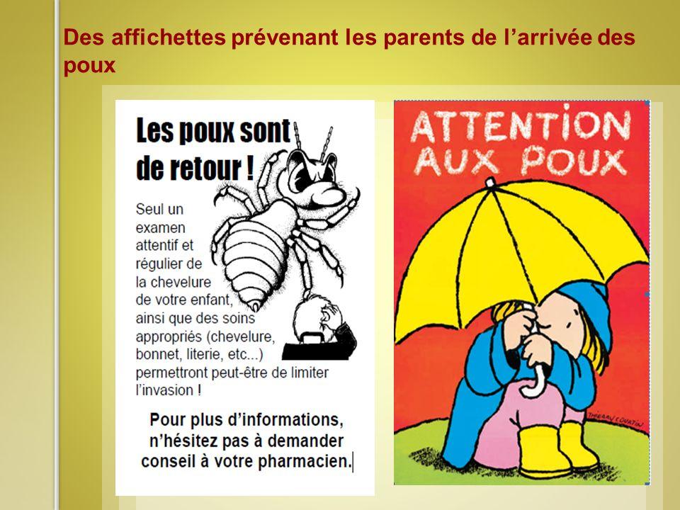 Des affichettes prévenant les parents de l'arrivée des poux