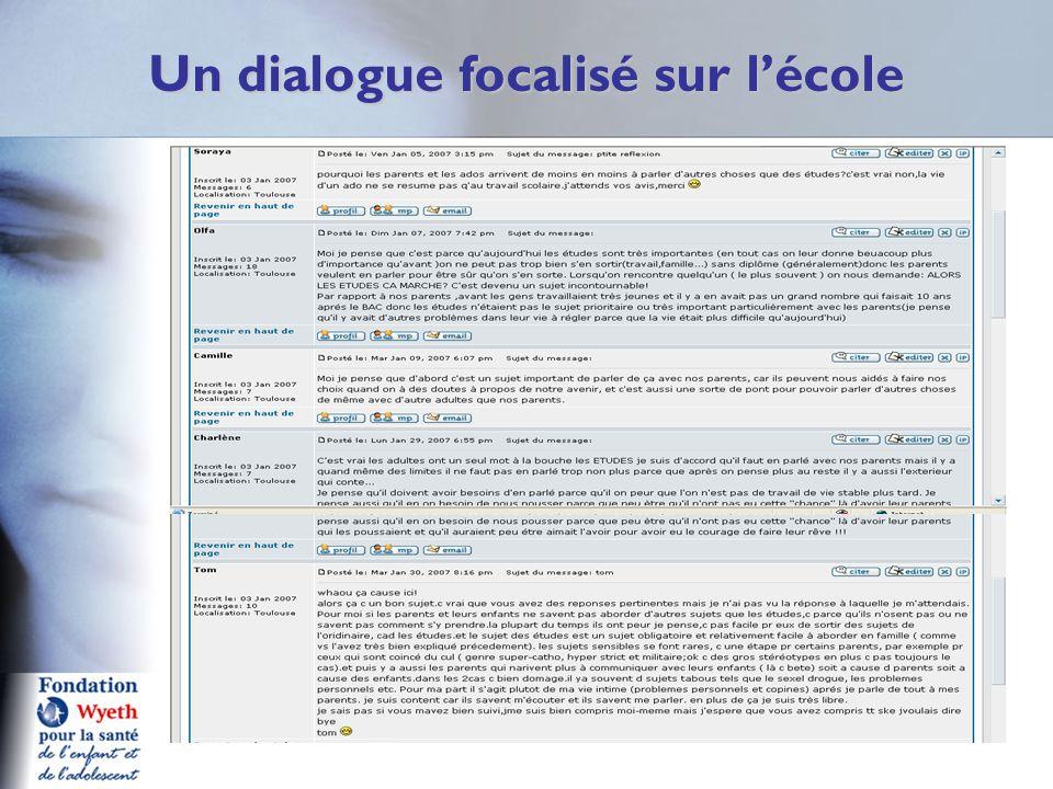 Un dialogue focalisé sur l'école