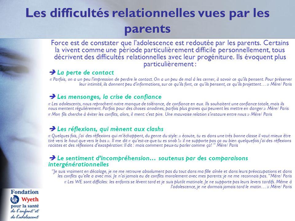 Les difficultés relationnelles vues par les parents
