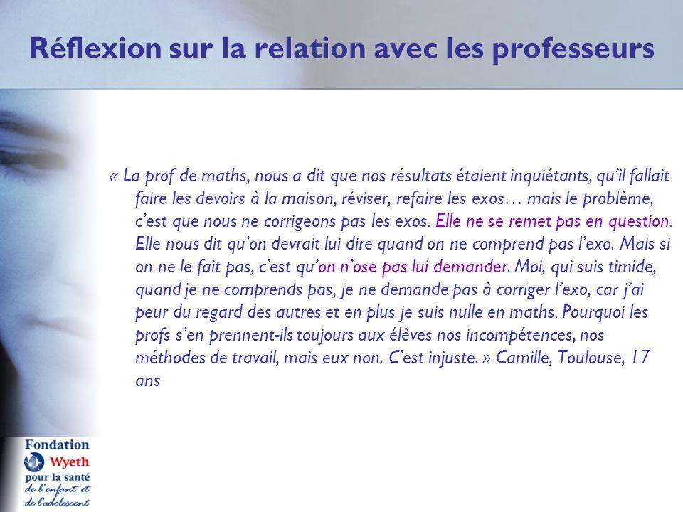 Réflexion sur la relation avec les professeurs