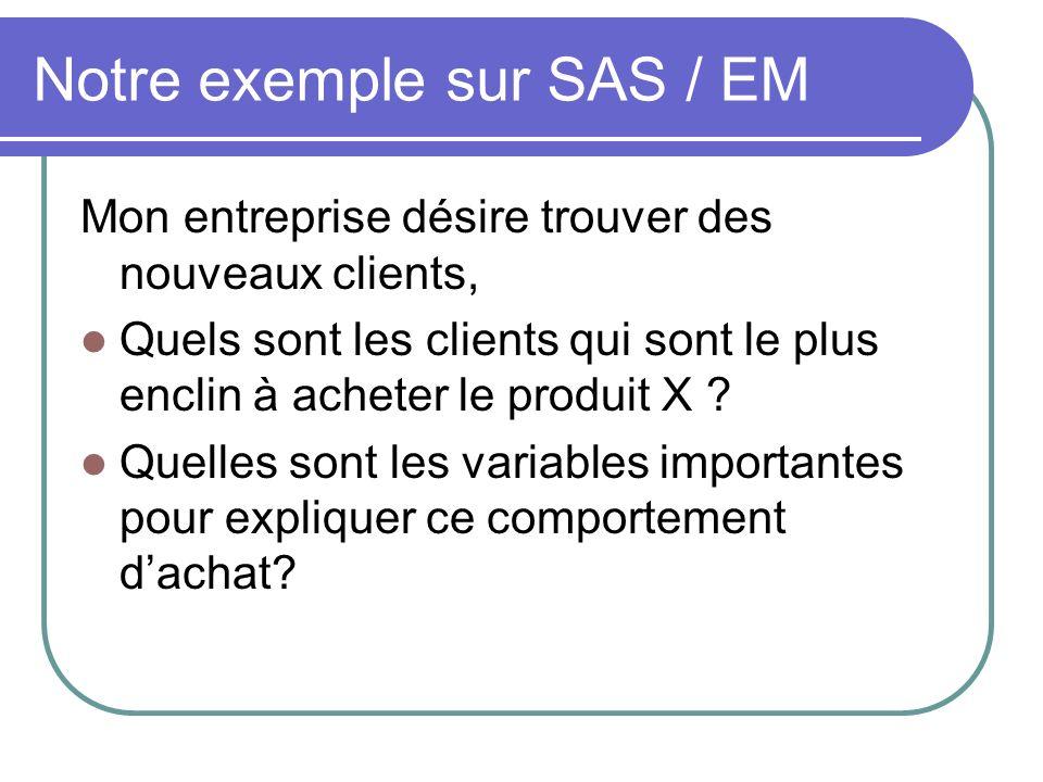 Notre exemple sur SAS / EM