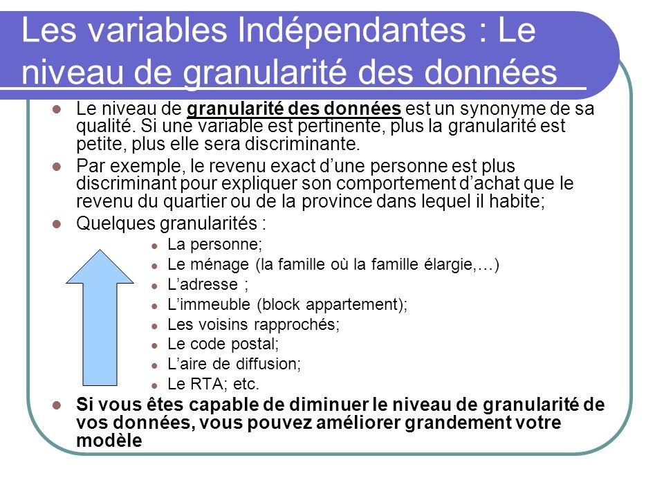Les variables Indépendantes : Le niveau de granularité des données