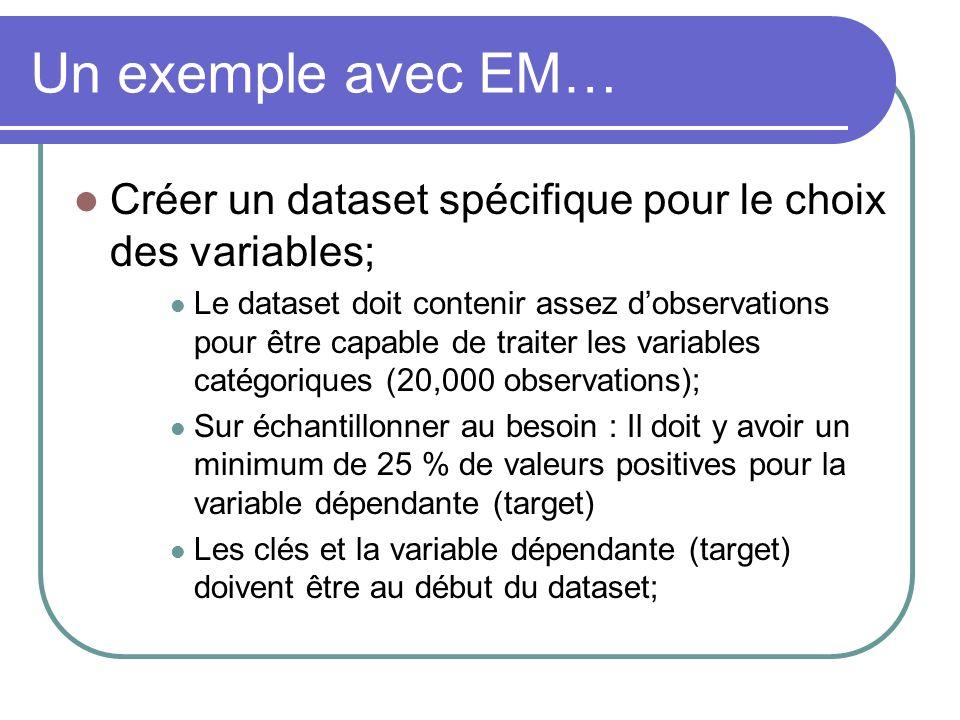 Un exemple avec EM… Créer un dataset spécifique pour le choix des variables;