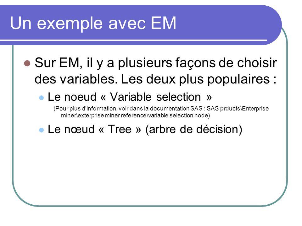 Un exemple avec EM Sur EM, il y a plusieurs façons de choisir des variables. Les deux plus populaires :