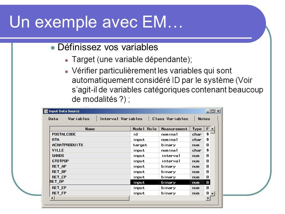 Un exemple avec EM… Définissez vos variables