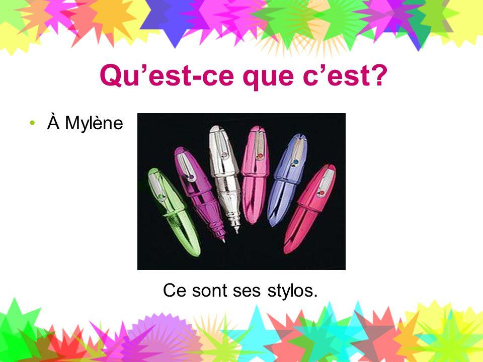 Qu'est-ce que c'est À Mylène Ce sont ses stylos.